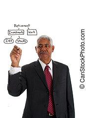 homme affaires, planification, minorité, retraite