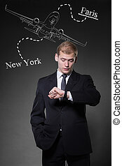 homme affaires, planification, voyage commercial
