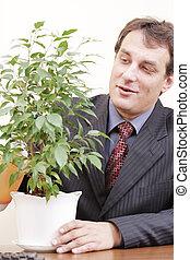 homme affaires, plante, arrosage