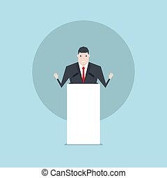 homme affaires, podium., conversation