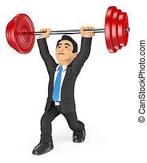 homme affaires, poids, levage, 3d