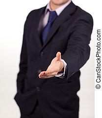 homme affaires, poignée main, appareil photo, projection