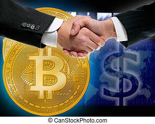homme affaires, poignée main, bitcoin, btc