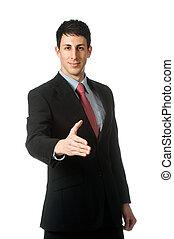 homme affaires, poignée main