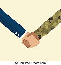 homme affaires, poignée main, soldat