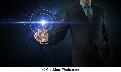 homme affaires, pointage, sur, social, réseau, média,...