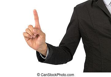 homme affaires, points, doigt