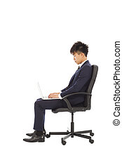 homme affaires, portable utilisation, sur, les, chaise