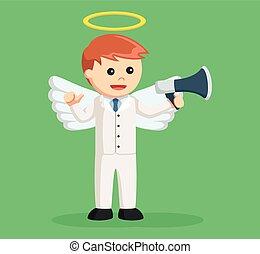 homme affaires, porte voix, ange
