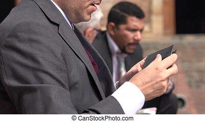 homme affaires, portefeuille, vérification, argent