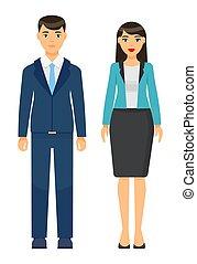 homme affaires, porter, ensemble, collection, dessin animé, ouvriers, femme affaires, icônes, bureau, tissu