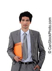 homme affaires, porter, fichier