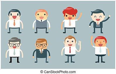 homme affaires, poses, ensemble, caractères