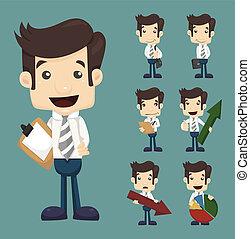 homme affaires, poses, ensemble, diagrammes, caractères