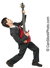 homme affaires, poses, guitariste, complet