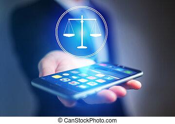 homme affaires, possession main, téléphone portable, à, justice, icône