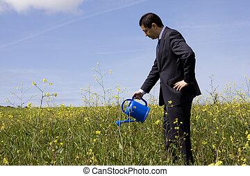 homme affaires, pot fleurs