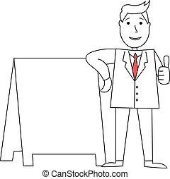 homme affaires, pouces haut, dessin animé