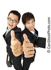 homme affaires, pouces, heureux, haut, asiatique