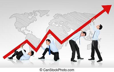 homme affaires, pousser, a, business, graphique, haut