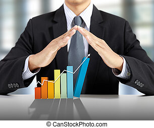homme affaires, présent, levée, graphique, croissance affaires, concept