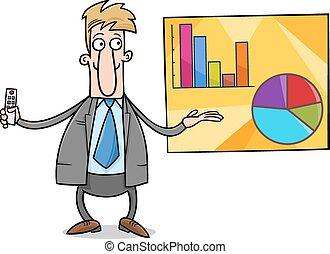 homme affaires, présentation, dessin animé, illustration