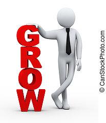 homme affaires, présentation, mot, 3d, grandir
