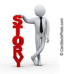 homme affaires, présentation, mot, 3d, histoire