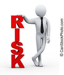 homme affaires, présentation, mot, 3d, risque