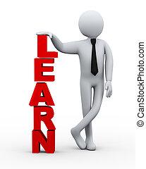 homme affaires, présentation, mot, apprendre, 3d