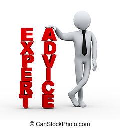 homme affaires, présentation, mot, expert, 3d, conseil
