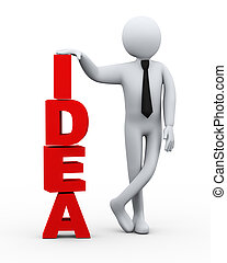 homme affaires, présentation, mot, idée, 3d