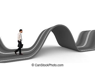 homme affaires, prêt, commencer, sur, a, compliqué, road., concept, de, défi