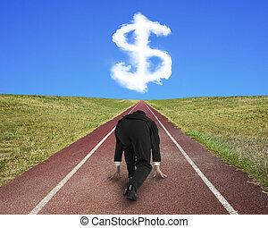 homme affaires, prêt, courir, sur, piste de roulement, pour, signe dollar