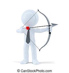 homme affaires, prend, but, à, a, cible, arc flèche