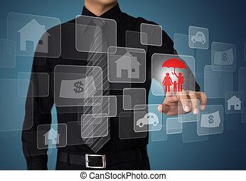 homme affaires, presse, assurance, bouton