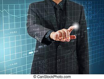 homme affaires, presse, bourse, diagramme