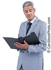 homme affaires, presse-papiers, décue, tenue