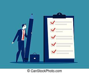 homme affaires, presse-papiers, liste contrôle