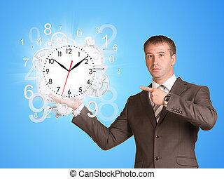 homme affaires, prise, voler, figures, horloge