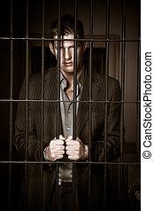 homme affaires, prison
