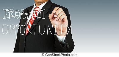 homme affaires, problème, occasion, éliminer