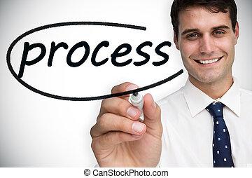 homme affaires, proces, mot, écriture