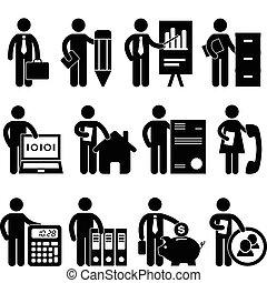 homme affaires, programmeur, avocat, métier