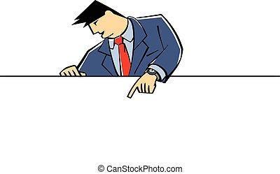 homme affaires, projection, bannière