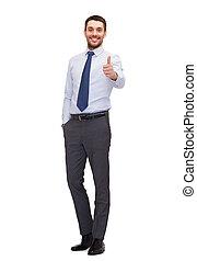 homme affaires, projection, beau, haut, pouces