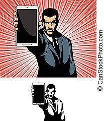homme affaires, projection, gadget