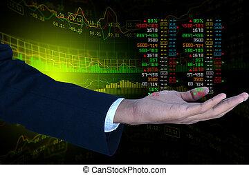 homme affaires, projection, les, diagramme action