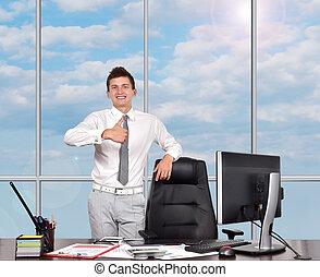 homme affaires, projection, pouce haut