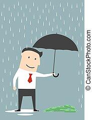 homme affaires, protéger, parapluie, argent